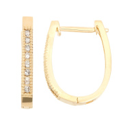 David Tutera 10k Gold .24ct TDW Diamond Round Cut Hoop Micro Pave Earrings