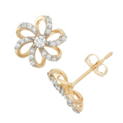 David Tutera 10k Gold .28ct TDW Diamond Round Cut Flower Stud Earrings