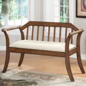 Olivia Upholstered Slat-Back Wooden Bench