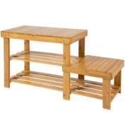 Natural Bamboo Shoe Bench 2-Tier Boot Storage Racks Shelf Organiser Chair Seat