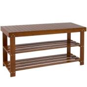 Brown Bamboo Shoe Bench 2-Tier Boot Storage Racks Shelf Organiser Chair Seat