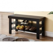 Legacy Decor 2 Tiers Wooden Shoe Bench Rack in Black Finish