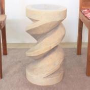 Spiral Zig Zag Stool 12 Dia x 60cm H Sust Monkey Pod Wood w Eco Friendly Livos Agate Grey Oil Fin