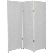 1.2m Tall Woven Fibre Room Divider - 3 Panel - White