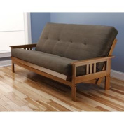 Andover Full Size Futon Sofa Bed Honey Oak Wood Frame Suede Innerspring Mattress Olive