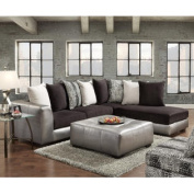 Shimmer Pewter Microfiber Sectional Black Sofa And Ottoman- Made In USA