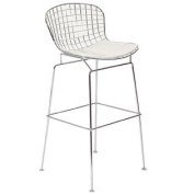 Cad Wire Bar Stool in Silver Frame White Cushion