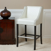 Milano White Quilted Leather Bar Stool
