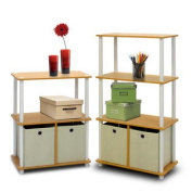 Furinno 8899152BE Go Green Multipurpose Storage Shelving Set with Bins Set of Two - Beech/White
