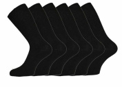 Mens 100% Cotton Non-Elastic Loose Wide Top Socks, Size 6-11 UK Black
