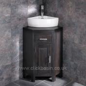 Clickbasin Olbia Corner Sink With Alta Wenge Oak Space Saving Vanity Unit