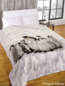 Super Soft Penguin Family Faux Fur Mink Fleece Blanket Bedroom Animal Throw