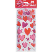 Valentine's Day Hearts Cellophane Bags, 20ct