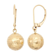 10K Gold 10mm Hammered Ball Leverback Earrings