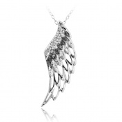 DB Designs Sterling Silver Black Diamond Accent Angel Wing Necklace