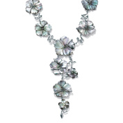"""PalmBeach Flower-Shaped Black Freshwater Mother-Of-Pearl Silvertone """"Y"""" Necklace 46cm Bold Fashion"""