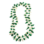 Green and White Freshwater Pearl Knotted Endless Necklace