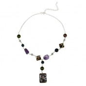 Glitzy Rocks Sterling Silver Amethyst and Abalone Y Necklace