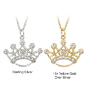 46cm Diamond Accent Highly Polished Crown-shaped Necklace