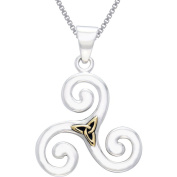 CGC Sterling Silver and Gold-Plated Celtic Triskele Trinity Knot Necklace