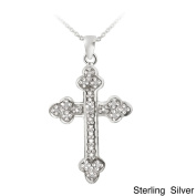 DB Designs Sterling Silver 1/8ct TDW Diamond Vintage Cross Necklace