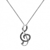 Sterling Silver 1/10ct TDW Black Diamond Musical Note Necklace