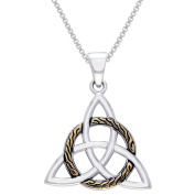 CGC Sterling Silver Celtic Trinity Knot Pendant with 18k Goldplated Circle of Life Braid Necklace