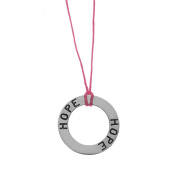 Charming Life Sterling Silver 'Circle of Hope' Waxed Linen Thread Necklace