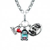 Silver Overlay Music Lover Charm Necklace