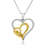 10k Gold 1/4ct TDW Mother and Baby Heart Necklace
