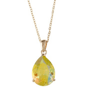 City by City City Style Goldtone Pear-cut Lime Green Cubic Zirconia Necklace
