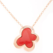 18k Rose Gold Overlay Red Carnelian Butterfly Necklace