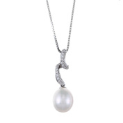 Kabella Sterling Silver Drop Freshwater Pearl with Cubic Zirconia Twisted Curl Necklace
