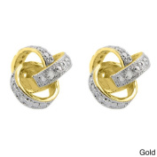 Finesque Sterling Silver Diamond Accent Love Knot Earrings