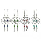 Journee Collection Sterling Silver Bead Dreamcatcher Earrings