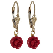 Gold Filled Faux Coral Rose Flower Girls Earrings