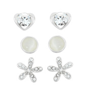 Isla Simone Rhodium-plated Cat's Eye and Crystal Heart and Flower 3-piece Earring Set