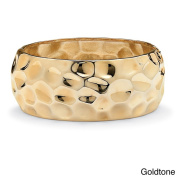 PalmBeach Hammered-Style Bangle Bracelet in Yellow Goldtone or Silvertone 23cm Bold Fashion