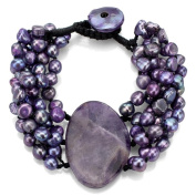 DaVonna Purple Pearl and Oval Amethyst Double-knotted Bracelet