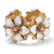 PalmBeach Flower and Crystal Stretch Bracelet in Silvertone and Yellow Gold Tone 20cm Bold Fashion