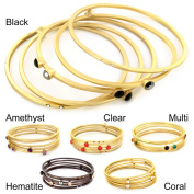 Plated Coloured and Clear Crystal 5-piece Bangle Set