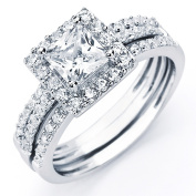 Oliveti Sterling Silver Princess Cubic Zirconia Bridal-style Ring Set