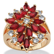 PalmBeach Marquise-Cut Red Crystal Flower Cocktail Ring in 18k Gold-Plated Colour Fun