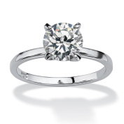 PalmBeach 2 TCW Round Cubic Zirconia Solitaire Engagement Anniversary Ring in Sterling Silver Classic CZ