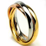 Oliveti Stainless Steel Tri-colour Love Ring Wedding Band