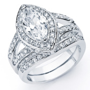 Oliveti Sterling Silver Marquise Cubic Zirconia Bridal-style Ring Set