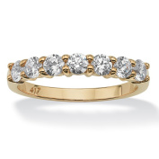 PalmBeach .70 TCW Round Cubic Zirconia 10k Yellow Gold Anniversary Stack Band Ring Classic CZ