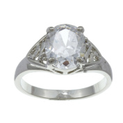 City by City City Style Silvertone Clear Cubic Zirconia Openwork Ring