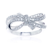 Blue Box Jewels Rhodium Plated Silver Double Bow Knot Ribbon Ring