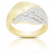 Finesque Gold over Silver or Sterling Silver Diamond Accent Angel Wing Design Ring
